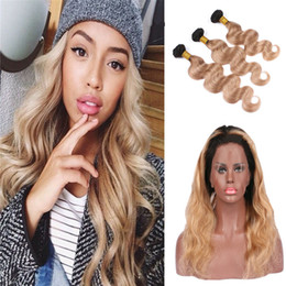Roots Band Canada - Strawberry Blonde #1B 27 Dark Root Body Wave Ombre Human Hair Bundles With Pre Plucked 360 Lace Band Frontal Closure With Baby Hair
