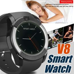Vente en gros V8 bande de montre de bracelet de montre intelligente avec l'appareil photo 0.3M SIM montre intelligente de montre de cercle IPS HD pour le système Android avec la boîte