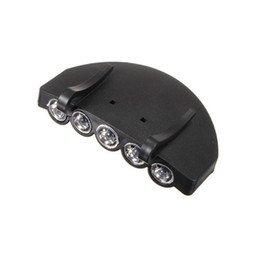 5 LED Cap Hat Light Clip-On 5 LED Pesca Camping Head Light HeadLamp Cap con 2 batterie * CR2032 cella 50pcs