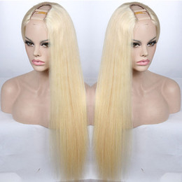 $enCountryForm.capitalKeyWord NZ - U Part Human Hair Wigs Blonde #613 Straight Indian Virgin Hair U Part Lace Wigs For White Women 8-24 inch 130% Density