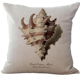knit pillow patterns Australia - Wholesale- New Hand Painted Ocean Series Coral Starfish Hippocampus Conch Pattern Linen Throw Pillow Case Square 45*45 Cm