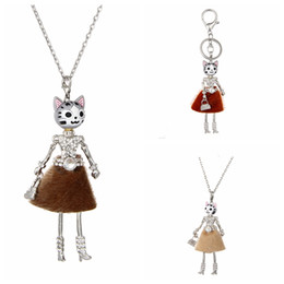 Girl doll necklaces online shopping - 4 Colors Lovely France Doll Necklace Pendants Cute Cats Doll Pendant New Fashion KeyChains Jewelry For Women Girl Styles Accessories Gifts