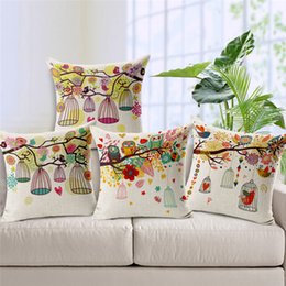 Wholesale 1 Cotton Linen Square Design Throw Pillow Case Decorative Cushion Cover Pillowcase Colorful Birds Birdcages Style