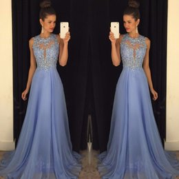 Linyixun Sexy O Neck A Line Chiffon Lace Appliques Beaded Junior Light Blue Long  Prom Dresses 2017 Marsala Backless Court Train Kylie e58b49e34727