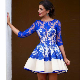 Robe Bleue À Long Tulle Pas Cher-Belle robe de bal courte Royal Blue Lace Jewel Trois quarts de manches Party Robes de soirée Custom Made Homecoming Dresses Mini