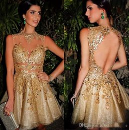 $enCountryForm.capitalKeyWord Canada - Sparkly Bing Bing Gold Short Evening Party Dresses Jewel Neck Sleeveless Tulle Satin Lining Sexy Backless Cocktail Gowns , Custom Made