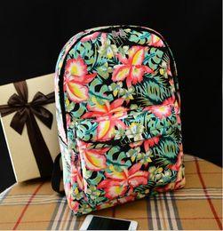 $enCountryForm.capitalKeyWord Canada - Canvas Korean flower print floral Backpacks Girls boy School Bags Casual Zipper Closure Knapsack Bags Women s Double Shoulder Bags GL-X16807