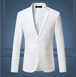Barato Jaquetas De Vestido Formal Branco-Venda por atacado - 2016 New Arrival Spring White Vestido formal Blazers Men Solid Slim Fit Mens Blazer Jacket Casual Social Suit Jacket