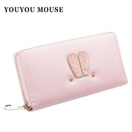 Wholesale YOUYOU MOUSE High fashion Women Wallet Cartoon Rivet Hot Women Purse Rabbit Ears Fresh Hasp Embrayage Coin Pocket Card Holder