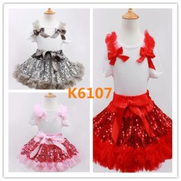Motifs De Tutu De Filles Pas Cher-Hot Sell 43 modèles filles de Noël Snowman robes T-shirt + TUTU jupe robe Set Sequin Princess Party Wear enfants en coton Dress Set