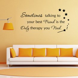 Cartoon Stick Wall NZ - aw9356 Sometimes Talking to Your Best Friends Quote Vinyl Wall Stickers Quotes Removable Decals Magic Stick Stars Wall Sticker Decal