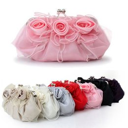 Cocktail Purses Canada - Handmade Rose Floral Hand bag Ruffles Organza Satin Wedding Bridal Prom Cocktail Party Evening Clutch Handbag Lady Purse 100% Same as Image