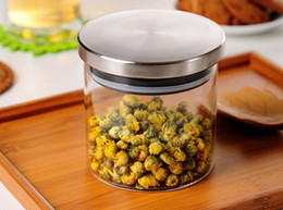 Glass Food Storage Containers Canada - 1PC 450ML Transparent glass sealed kitchen storage food containers Cereals, beans storage bottle jar J1049