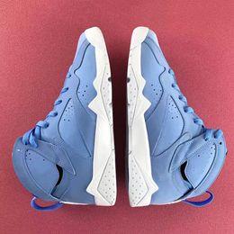 Vii High Cut Basketball Shoes Men Blue White Prynne University Blue 7s Sports Basket Ball Sneakers  Men Blue Balls For Sale