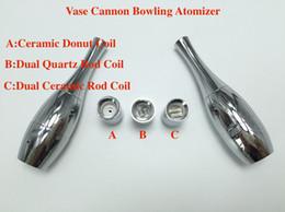 Atomizer Head Metal NZ - 2017 Vase Cannon Bowling Tank Atomizer Dry Herb Vaporizer Wax Dual Coil Heads Ceramic Rod Quartz Ceramic Donut Vase Shape Metal Vapor Ecigs