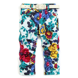 belt painting Australia - Children Girls Ink painting flowers pants 3 color no belt Wholesale