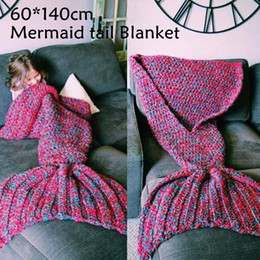 Discount mermaid towel tails wholesale - 10pcs knitted Mermaid Tail Blanket Children Adult Baby Mermaid Blanket Throw Bed Children Swaddle Sleeping Bag 7 Colors