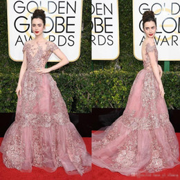 44335b5dc29 2017 74th Golden Globe Awards Lily Collins Zuhair Murad Celebrity Evening  Dresses Sheer Backless Pink Lace Appliqued Red Carpet Gowns