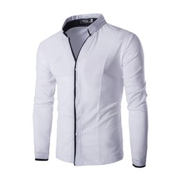 $enCountryForm.capitalKeyWord Canada - Wholesale- Classic White Shirt male Mens Dress Shirts Korean Style Long Sleeve Solid Stand Collar Casual Men Blouse C122
