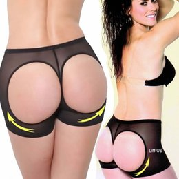 Barato Mais Tamanho Calças De Levantamento-Atacado- NEFUTRY Mulheres Butt Lifter Buttocks booty Bum Lift Pants Enhancer Braguitas de controle de barriga Boyshorts Plus Size Slimming Underwear
