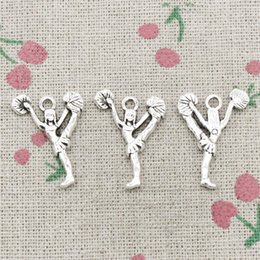 Barato Jóia De Prata Cheerleader-80pcs Charms cheerleaders cheering dance 26 * 17mm Antique Silver Pendant Zinc Alloy Jewelry DIY Hand Made Bracelet Necklace Fitting