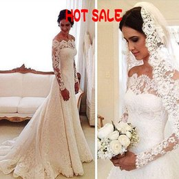 Barato Vestidos De Casamento Vintage Baratos-Hot Sale 2017 Vestidos de casamento Sheer Neck Off the Shoulder Vintage Lace de manga comprida Vestido de casamento baratos Custom Made Country Bridal Gowns