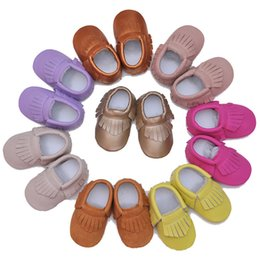 f82f8afd5b95c0 Baby Moccasins Genuine Leather Multi Pure Color Infant Shoes Soft Sole Anti-slip  Baby Prewalkers Baby First Walkers