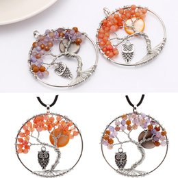 Metal Jewelry Gift Tree Canada - 48mm 2 Styles Tree of Life Necklace Agate Bead Crystal Owl Pendant Wire Wrapped Metal Crystal DIY Jewelry Accessory Christmas Gift C184S
