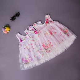 Robes Pour Filles Pas Cher-New 2017 Baby Girls Crochet Lace Tulle Robes Kids Girls Print Floral Party Dress Girl Vêtements d'été vêtements pour enfants