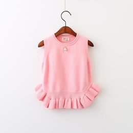 Barato Meninas Sem Manga Camisetas-Everweekend Girls Ruffles Pearl Sweater Cute Baby Sleeveless Tees Doce Crianças Candy Color Fall Tops