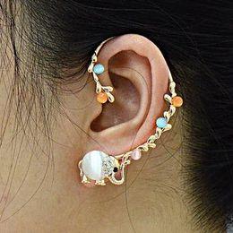 vision alloy 2019 - fashion vision 3 colors Crystal Elephant Fringe Ear Cuff Earring NO PIERCING Gothic Punk Fancy Dress model no.ER554 chea