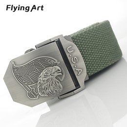$enCountryForm.capitalKeyWord Canada - Wholesale- American flag eagle automatic male belt buckle High quality 4mm thick, 3.8cm with canvas belts Cowboy belts for men and women
