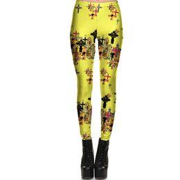 $enCountryForm.capitalKeyWord UK - Yellow cross pants Crucifix jog tight Women gym clothing Leggings sport wear Fitness training sportwear Exercise trousers