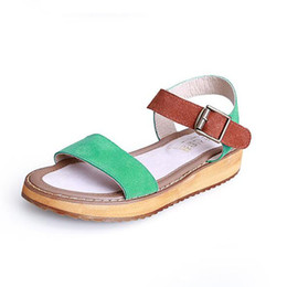 019136fbb women summer sandal thick soled sandals female summer students a slip with  flat sandals all-match muffin leisure Korean tide women sandals