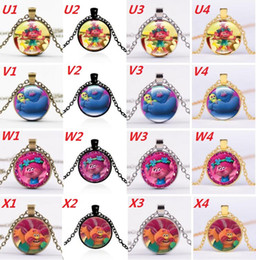 Trolls necklaces online shopping - 96 Style Cartoon Trolls Poppy Glass Cabochon Necklace Time Gemston Dome Pendant Jewelry for women Kid Gift silver bronze black