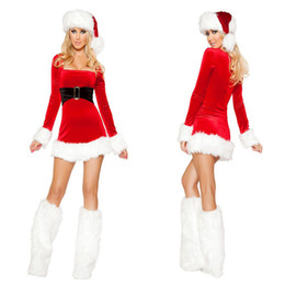 Barato Mini Miss Sexy-Sra. Senhorita Papai Noel Cosplay Costume Mulheres Sexy Red Long Sleeve Low-cut Mini Vestido Natal Festival Masquerade Outfit