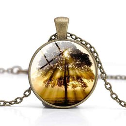 Glass Clothes NZ - Tree of Life Pendant Necklaces Glass Cabochon Blue Time Gemstone Rose Red Clothes Accessory Girl Gifts Women Charm Alloy Jewelry Wholesale