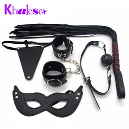 wholesale fetish toys Canada - New Adult Game 5 Pcs Set Kit Fetish Sex Bondage Restraint Handcuff Mask Ball Gag Whip Pretty Love Underwear faux leather Sex Toy q4201