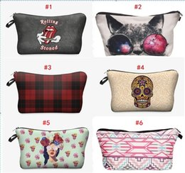 Chinese  3D Printing Women Make Up Bag Cosmetics Bags Organizer Purse Necessaire Makeup Bag for Travel Ladies Pouch Women Cosmetic Bag manufacturers