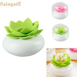 plastic chic 2019 - Wholesale- E25 Apr 11 Hot Chic Lotus Flower Cotton Bud Holder Toothpick Case Cotton Swab Box Vase Decor discount plastic