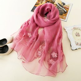 be2bd69e3be64 Beautiful scarf girl online shopping - 195cm cm solid color Hot drilling  pearl embroidered silk and