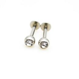 Опт Лабрет кольцо 16 г губы кольца серьги стержня кристально чистый драгоценный камень хрящ козелка баров пирсинг датчики тела ювелирные изделия внутренне Threade