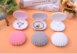 $enCountryForm.capitalKeyWord Canada - [Simple Seven] Cute Big Sea Shell Ring Box Bracelet Display Jewelry Set Box Earring Stud Velvet Case Necklace Display Wedding
