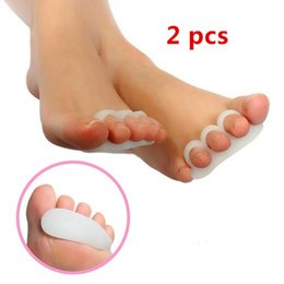 Soulagement De La Douleur Pas Cher-2pcs White Gel Toe Separators Stretchers Alignment <b>Bunion Pain Relief</b> (Couleur: Blanc)