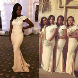 $enCountryForm.capitalKeyWord Canada - Elegant 2017 Light Yellow Chiffon And Lace Mermaid Bridesmaid Dresses Long African Bateau Short Sleeves Maid Of Honor Gowns Custom EN71912
