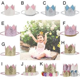 Sequin Headbands For Babies NZ - Baby Bling Crown Headband Girls Hair Accessories With Rose Flower sequins crown Head Bands For Birthday Gift Photograph props b1414