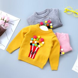 Barato Luva Longa Malha Tops-New Autumn Boys Meninas Sweaters Tops Tricô Pullover Toddler Long Sleeve Round Collar Baby Girl Kids Sweater Cinzento Amarelo Rosa A7408