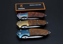 browning knives 2019 - OEM browning B55 folding knife 5cr15blade  steel+wood handle saning light surface EDC outdoor tools free shipping cheap