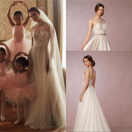 Bohemian Wedding Dresses Crystal Canada - Beach Style A Line Jewel Floor Length Tulle Bohemian Wedding Dresses With Beads Crystal Belt Sheer Back New Arrival Bridal Wedding Gowns