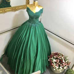 $enCountryForm.capitalKeyWord NZ - Ball Gown Evening Gowns Design Green Sweetheart Short Sleeve Appliqued Lace Pleated Floor Length Prom Dresses 2017